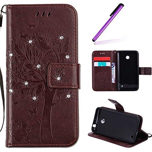 EMAXELERS Nokia Lumia 630 Hülle PU Lederhülle Bookstyle Handyhülle Flip Glitzer Asche Brieftasche Bumper mit Kartenfächer Wallet Tasche Etui für Nokia Lumia 630/635,Diamond Brown Wishing Tree