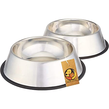 Foodie Puppies Pet Bowls for Small Dogs and Cats. Wipe Clean, Stainless Steel Non-Skid Bottom for Puppies, Kittens, Rabbits and More - Set of 2 (Small, 450ml)
