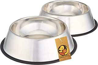 Foodie Puppies Stainless Steel Anti Skid Dog/Pet Bowl Medium - (Buy 1 Get 1 Free, 700ml Each)