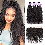 Brazilian Water Wave Bundles with Frontal 9A Unprocessed Virgin Human Hair Water Weave 3 Bundles with 13x4 Frontal Lace Closure Natural Color(12 14 16 + 10 frontal)