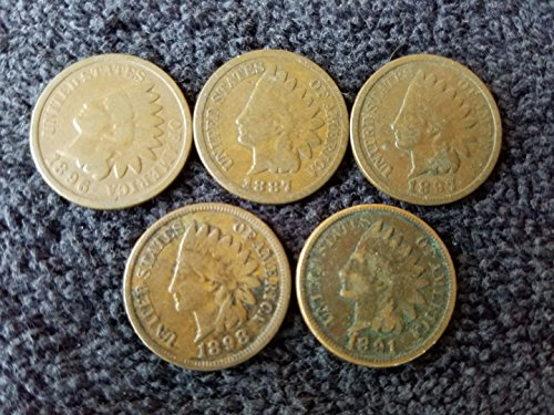 1880 thru 1899 Various Indian Head Pennies 5 Different Dates – in Gift Bag Indian Head Good and Better