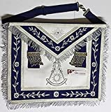 Masonic Apron -Past Master Apron Navy Blue Silver with Fringe (Blue & Silver)