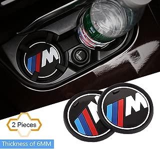 S-WEKA 2PCS M Line Car Interior Accessories Anti Slip Cup Mat for BMW 1 3 5 7 Series F30 F35 320li 316i X1 X3 X4 X5 X6 (2.9 Dia.(X3 /X4 /5/7 Series) (2.6(66mm))