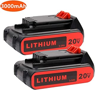 2PACK LBXR20 Battery 3.0Ah Replace for Black+Decker 20V Battery 20V Max Lithium LB20 LBX20 LST220 LBXR2020-OPE LBXR20B-2 LB2X4020 Cordless Tool Battery
