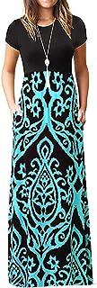 فستان Fankle ماكسي للنساء برقبة دائرية عتيق البوهيمي طباعة قصيرة الأكمام فضفاض بسيط طويل ماكسي فساتين كاجوال بجيوب حجم إضافي
