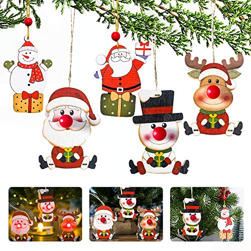 APERIL 5Pcs Adornos navideños decoración, Adornos Navidad Colgantes de Madera Nariz roja Luces Colgantes de Papá Noel muñeco de Nieve y Alce Adornos arbol Navidad para Fiestas Regalos Decorar Jardin