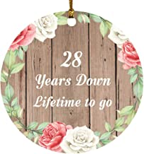 28th Anniversary 28 Years Down Lifetime to Go - Circle Wood Ornament B Christmas Tree Hanging Decor - for Wife Husband Wo-...