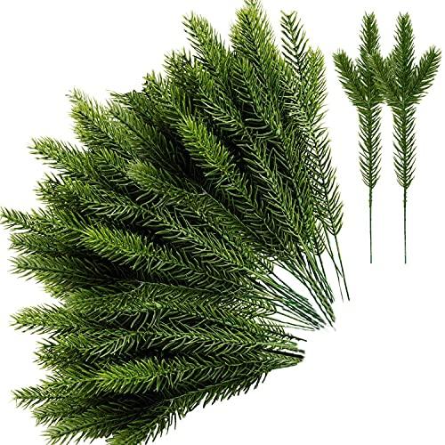 WANBAO Beautiful Crown 30 stücke künstliche Kiefer nadeln grüne Pflanze, falsche grüne Kiefer Picks für DIY girland Kranz Weihnachten Garten Dekoration