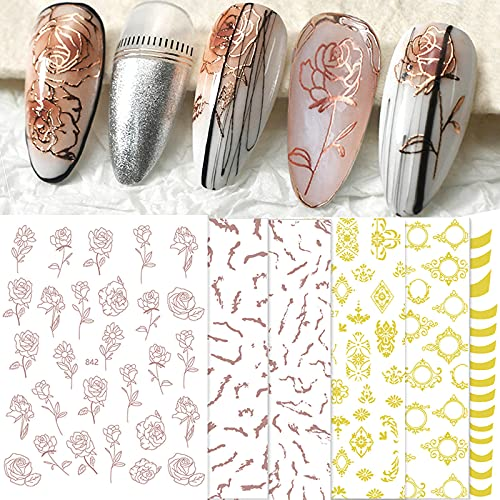 Gold Nail Art Stickers,Self-Adhesive 3D Bronzing Rose Nail Stickers Decals Retro Flowers Lrregular Lines Design Nail Stickers French Manicure DIY Nail Decoration for Acrylic Nails (Rose Gold)