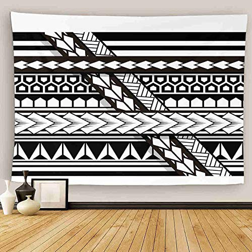 Uoopati Tapestry Wall Hanging Tribal Tattoo Samoan Band Maori Art Polynesian Black And White Texture Ethnic Wall Art Tapestries Tapestry for Bedroom Room Decor Picnic Mat Beach Bed Cover 60'x80'