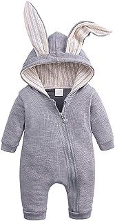 Newooh Newooh Neugeborene Strampler, Winter Warm Thicken Outfits Süße Hasenohr Kapuze Reißverschluss Einteiler Overall für Jungen Jungen Mädchen