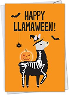 Llamaween - Cute Happy Halloween Greeting Card with Envelope (4.63 x 6.75 Inch) - Cute and Spooky Llama, Halloween Note Card for Kids - Spiders, Bats and Skeleton Art C7053HWG