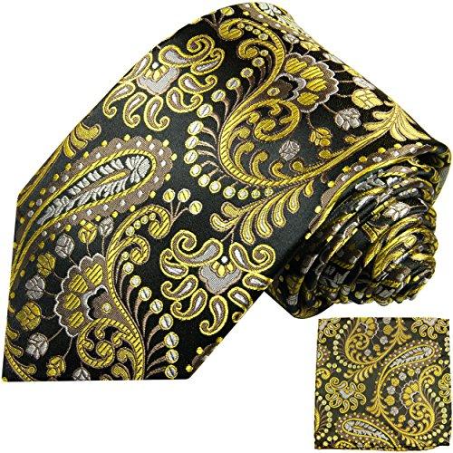 Cravate homme noir jaune paisley ensemble de cravate 2 Pièces (longueur 165cm)