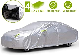 "BFASU 4 Layers Sedan Car Cover Universal Full Car Covers Waterproof for Automobiles All Weather Outdoor, Professional Car Covers with Zipper Door, 3 Straps for Windproof(Fits Sedan Up to 193"" L)"
