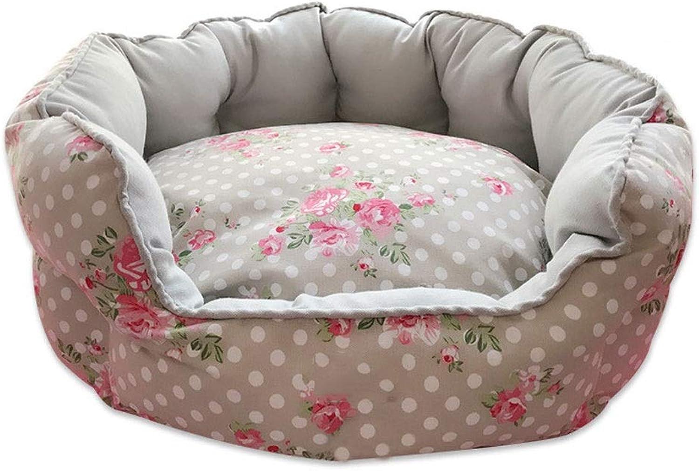 Pet Nest,Removable and Washable Bite Season Pet Bed (color   Beige Printing, Size   65  60  25CM)