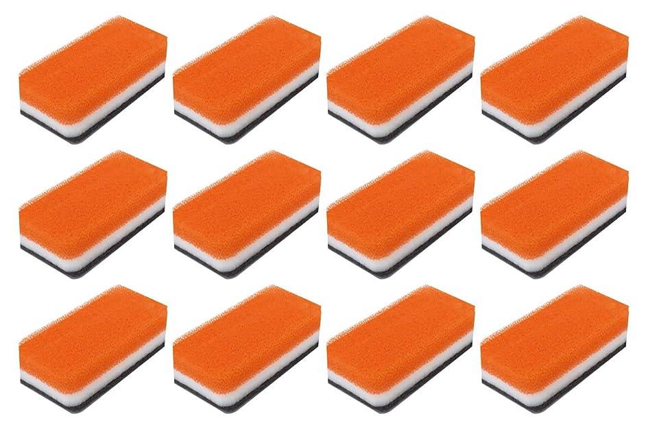 請負業者吐くインスタンスダスキン スポンジ 抗菌タイプ (台所用) 12個入り 台所 キッチン用 キッチンスポンジ 油汚れ 長持ち (1個×12) (オレンジ)