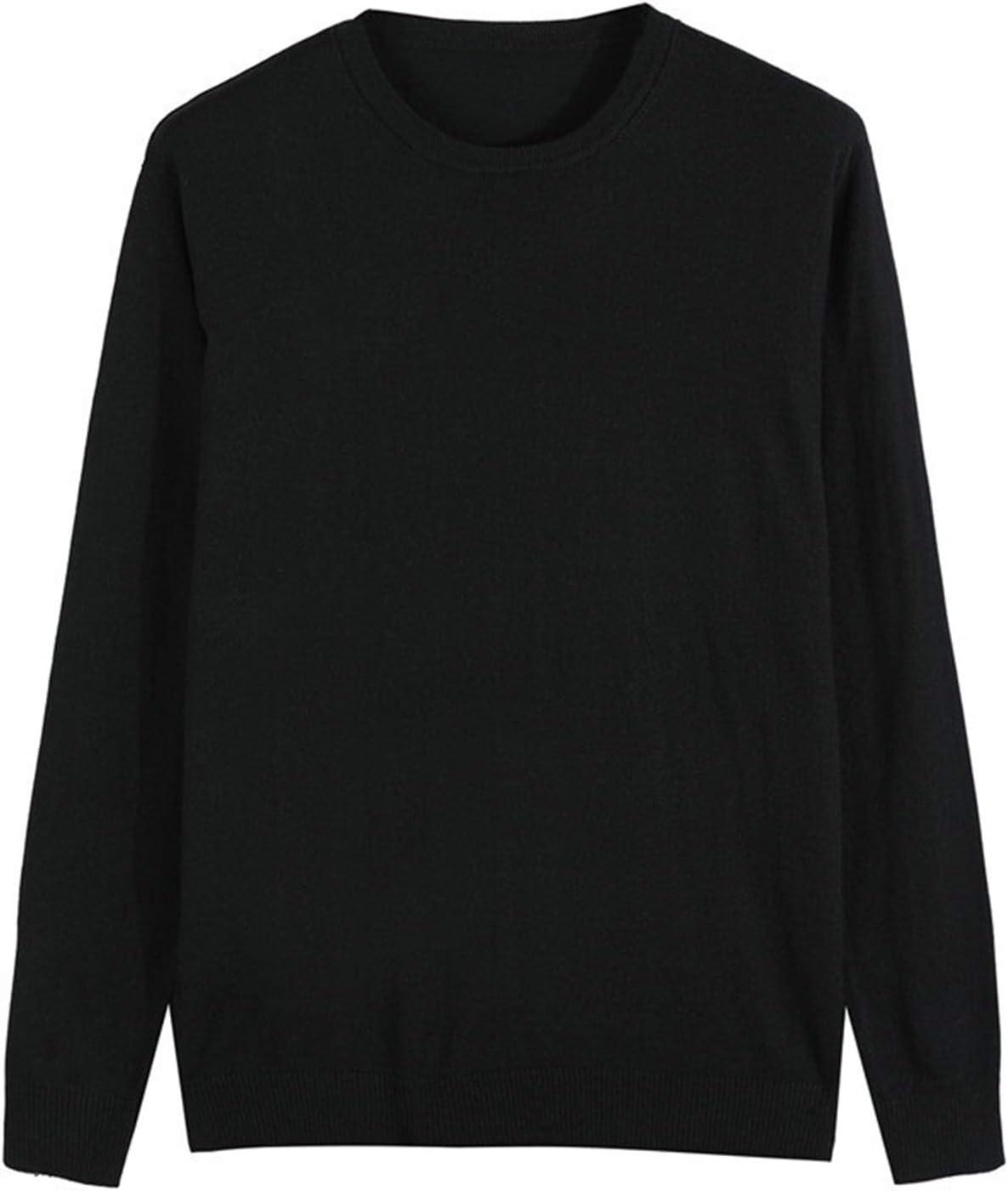 DZHT 10 Colors Men's Casual Knit Sweater Autumn Winter Slim Fit Pullover Cashmere Sweater Men Clothes (Color : Black, Size : Large)
