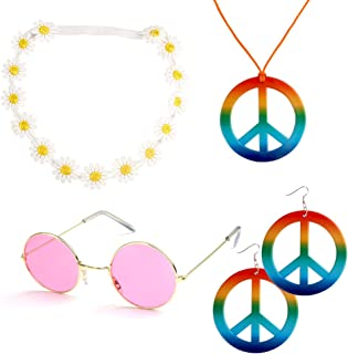Canitor White Flower Headbands 4 Pieces Hippie Costume Set Includes 1 Piece Rainbow Peace Sign Necklace 1 Piece Flower Crown Headbands and 1 Pair of Hippie Sunglasses 1 Pair of Rainbow Peace Sign Earrings