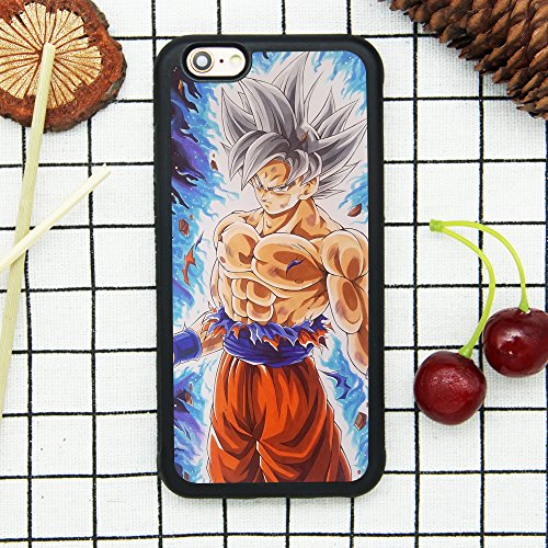 Dragon Ball Super Z Son Goku Ultra Instinct Japanese Anime Case for iPhone 6/6S (4.7 Inch) Comic TPU Silicone Rubber Gel Edge + PC Bumper Case Skin Protective Printed Phone Full Protection Cover