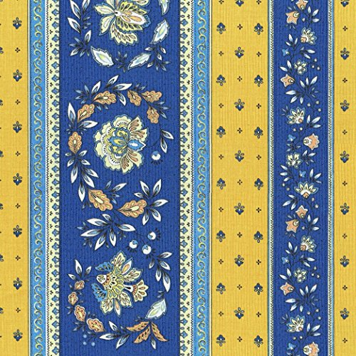 Textiles français Stoff Meterware Baumwolle - Provençal Streifen Blumenstoff (Schweden trifft Provence (Blau & Gelb)) | 100% Baumwolle Stoff | Stoffbreite: 160 cm (pro Laufmeter)*