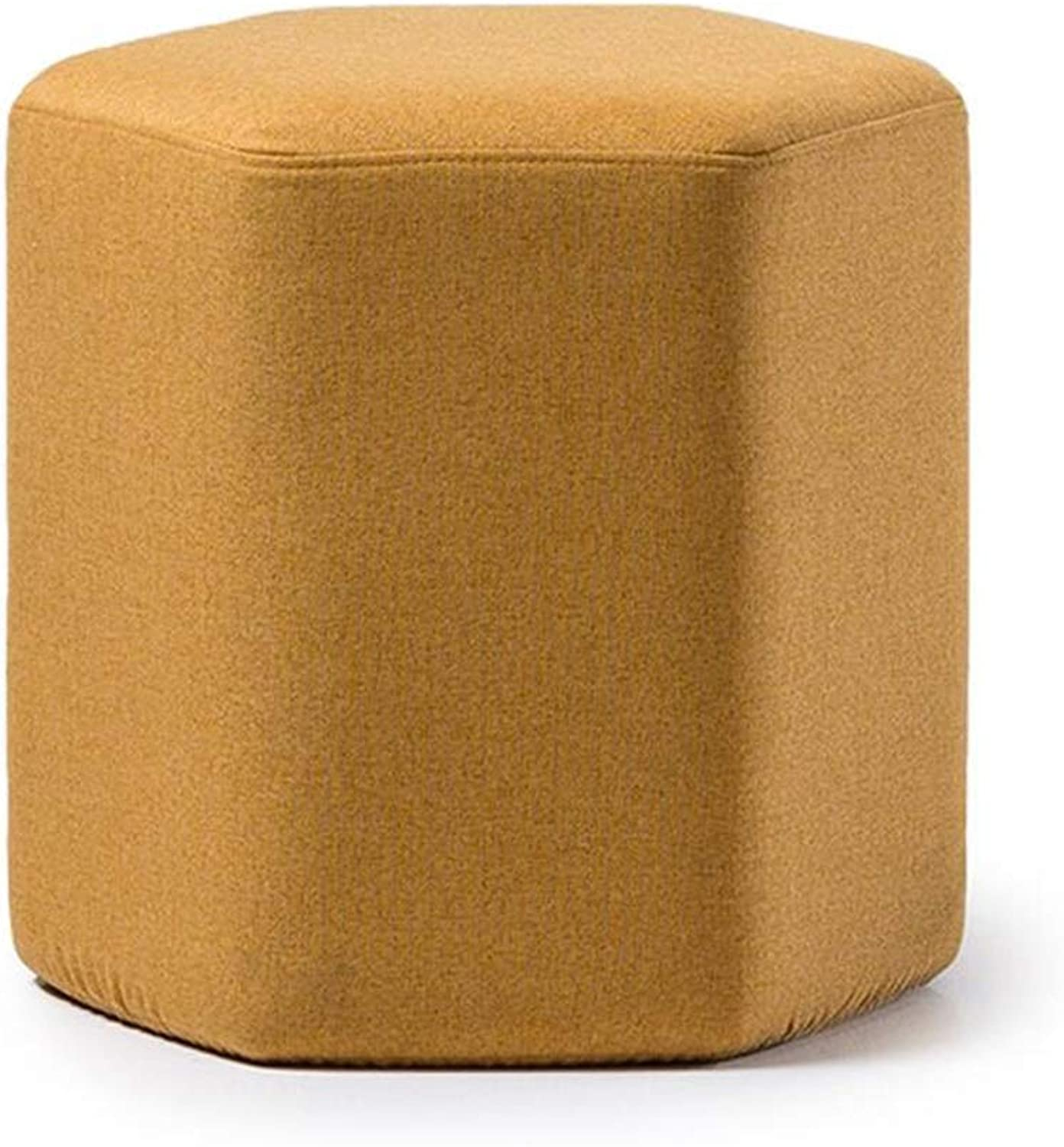 Stools Footstool Work Stool Change shoes Sofa Clothing Small Hexagon Creative Doorway Wearing shoes Short Stacking Washable CONGMING (color   Yellow)