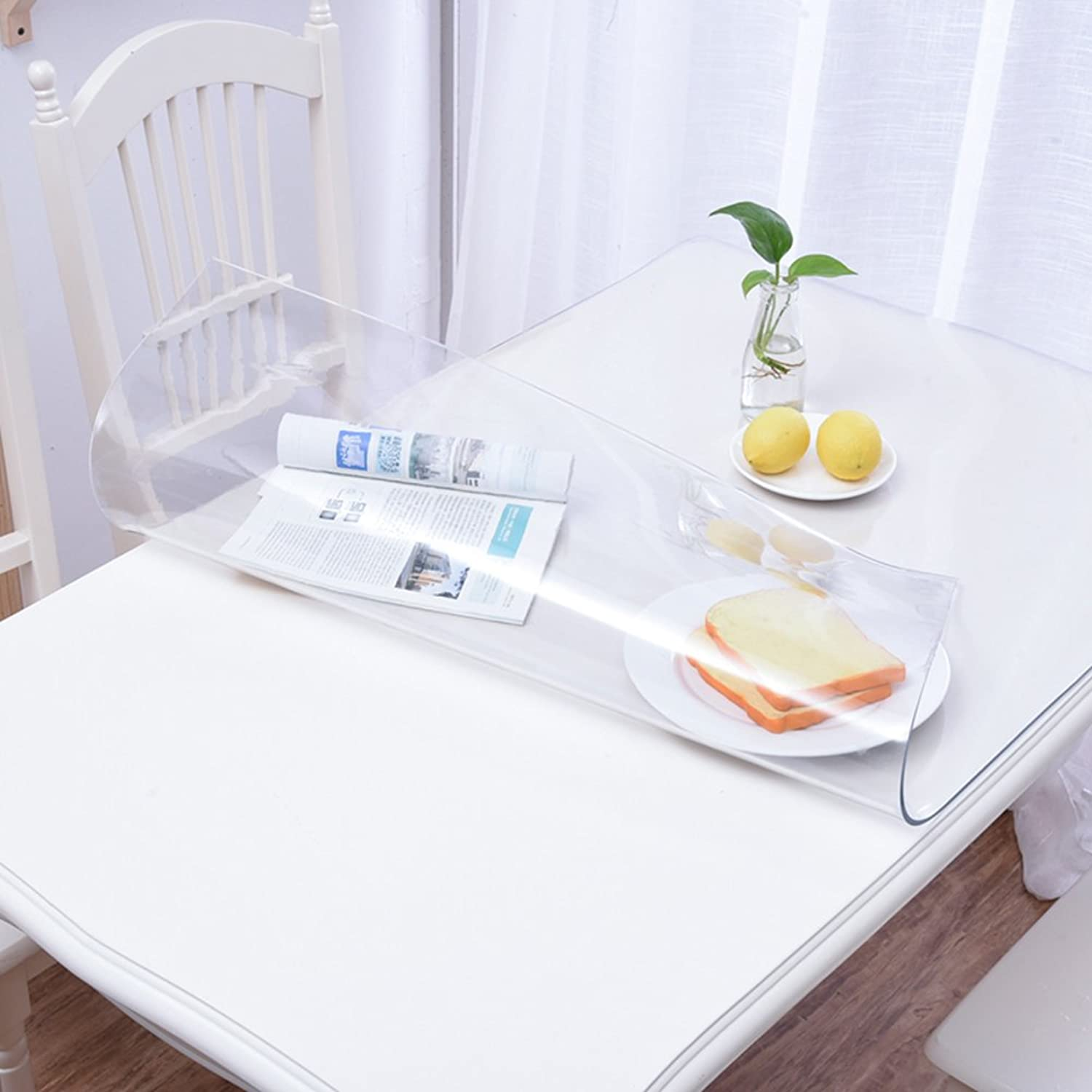 Clear Table Cloth Predector, Waterproof Rectangle Thicken PVC Soft Transparent Dining Table Cover for Wooden Glass Marble Desktop-Clear 5.0mm 90x90cm(35x35in)