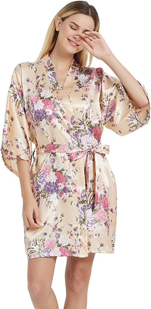 Women's Satin Robes All items free shipping Floral Bridesmaid Kimonos S Outlet ☆ Free Shipping Short Silk
