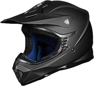 ILM Adult ATV Motocross Dirt Bike Motorcycle BMX MX Downhill Off-Road MTB Mountain Bike Helmet DOT Approved (Matte Black, Adult-M)