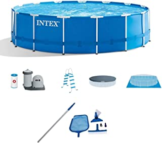 Intex 15'x48 Metal Frame Above-Ground Pool & Maintenance Kit w/Vacuum & Pole