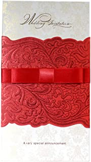 Red Emboss with Ribbon Wedding Invitations Cards for Wedding Bridal Showers, 12 Pack