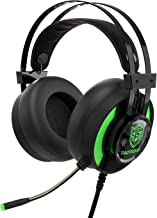JINDUN Gaming Headphone for PS4, PC, X Box One, Nintendo Switch Controller Multi-Platform Wired Headset, 7.1 Stereo Surround Gaming Headset, in-Ear LED Headset with Noise Reduction Microphone, Green
