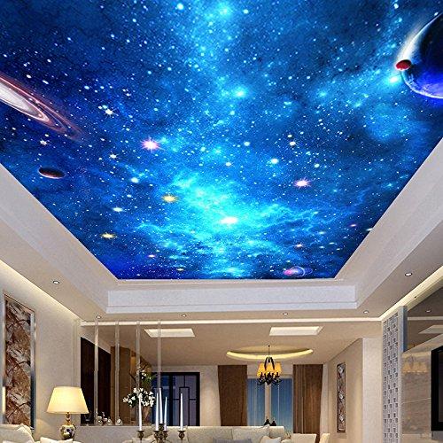 Leegt 3D Tapete Wallpaper Mural Custom 3D Fototapete Deckengemälde Wohnzimmer Schlafzimmer Bar Decke Hintergrund Wanddekor Tapeten Home Galaxy Sternenhimmel 400cmX350cm
