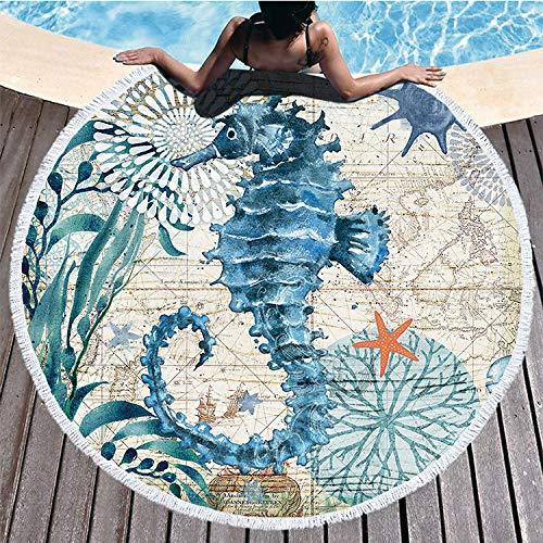 Toalla de Playa Redonda,Microfibra Mantas de Playa con estampado de Animales Marinospara Tapices Decorativos Toalla Redonda Estera de Yoga Esterilla de Picnic Alfombras Manteles Mandala (Tortuga)