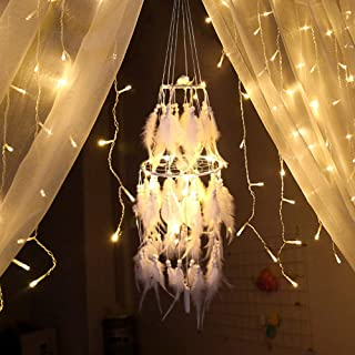 ESUPPORT LED Dream Catcher Traditional Handmade Craft Ornament LED Light Girl White Feather Wall Hanging Dream Catchers Home Decor (with a Gift Bag)