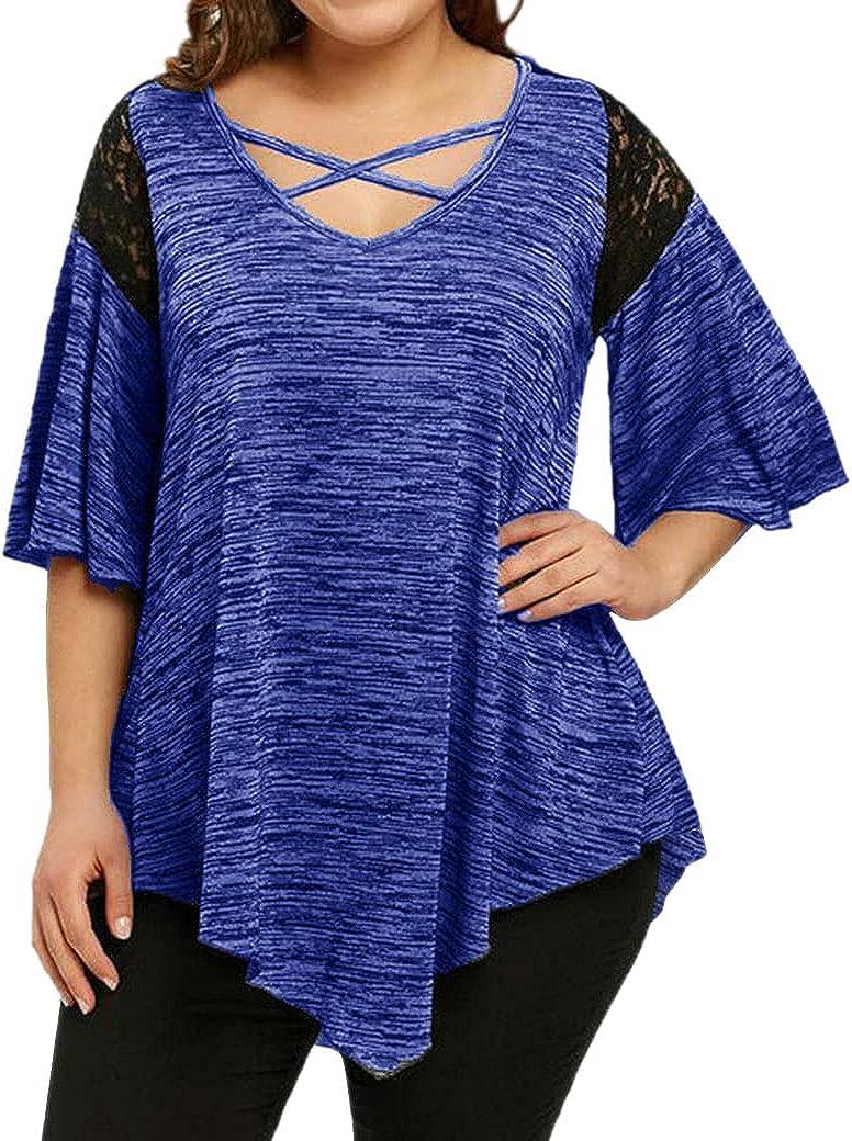PLNCAYFZ Womens Plus Size Cold Shoulder Top Printed Short-Sleeved Loose Off-Shoulder T-Shirt (L - 6XL)