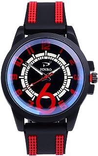Men Watch ساعات الرجال الفائز ربع إظهار طالب مزاجه البرية ساعة المعصم الكوارتز Men's Watch (Color : Red)