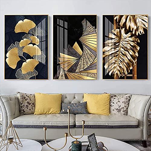 YANHUA Cuadros en lienzo abstracto de lujo con hojas doradas y plantas...
