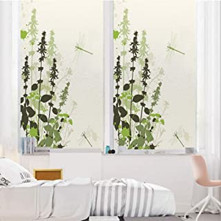 Dragonfly 3D No Glue Static Decorative Privacy Window Films, Nature Plants Grass with Wildflowers with Paintbrush Effects Print Decorative,24