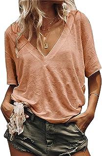 المرأة زائد الحجم بلون بلون الخامس الرقبة قصيرة الأكمام تي شيرت فضفاضة أعلى الأساسية (Color : Pink, Size : XXL)
