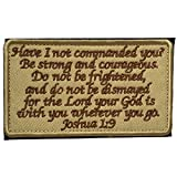 SpaceCar Joshua 1:9 Tactical Morale Desert Badge Embroidery Hook & Loop Emblem Patch 3.93' x 2.16' Sized - Tan & Brown