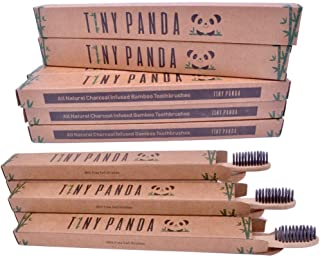 Family Pack of 10 Charcoal Infused Bamboo Toothbrushes - Natural Whitening - Eco-friendly Biodegradable BPA Free Toothbrus...