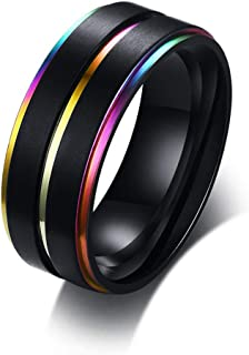 Oudiy Black Stainless Steel Basic Ring for Men with Rainbow Line Classic Male Wedding Band Jewelry Rings