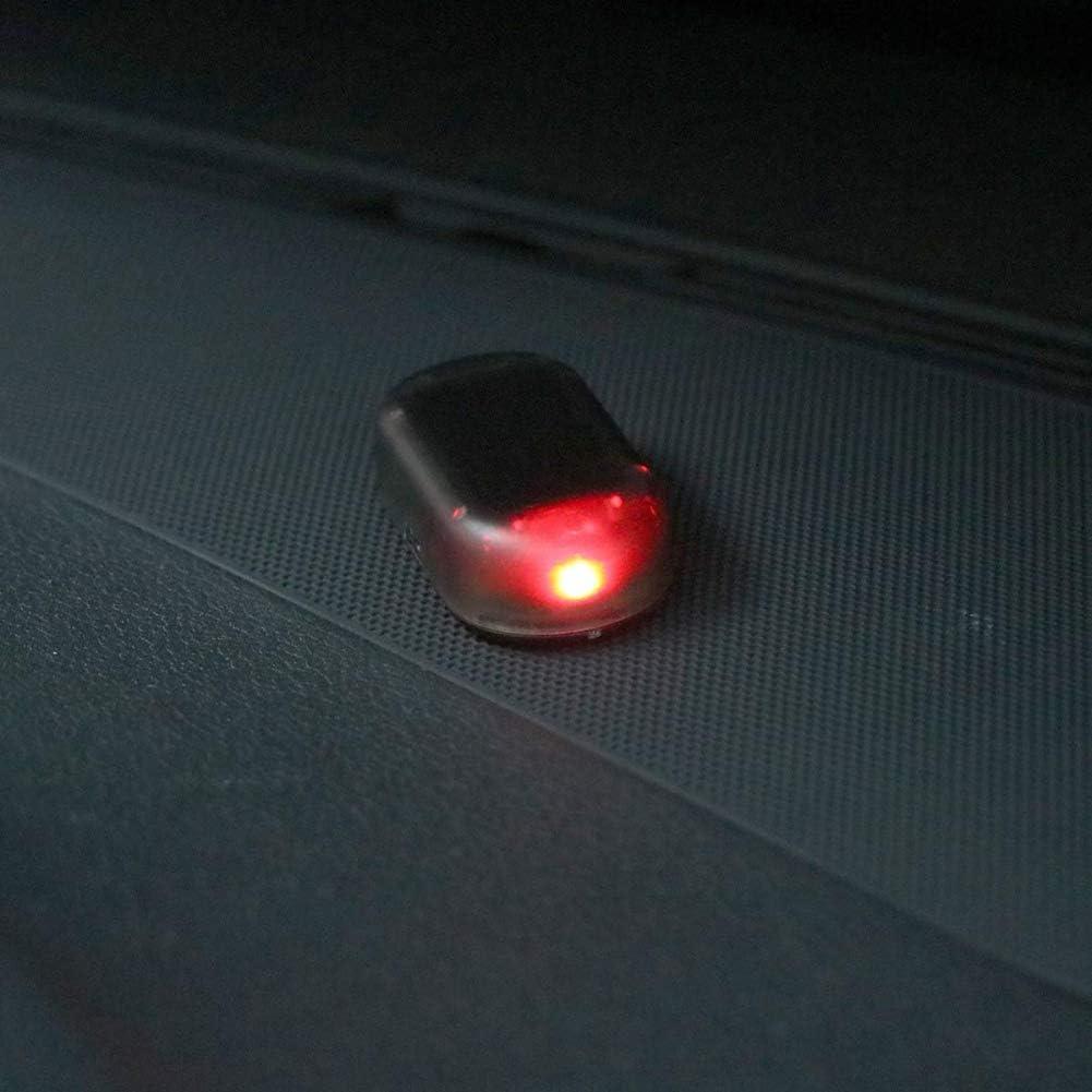 Pceewtyt Car Solar Power Simulated Dummy Alarm Warning Anti-Theft Led Flashing Security Light Fake Lamp Red