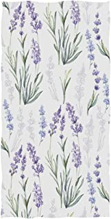 Naanle Stylish Luxuriant Beautiful Lavender Flowers Pattern Soft Absorbent Large Hand Towels Multipurpose for Bathroom, Hotel, Gym and Spa (16