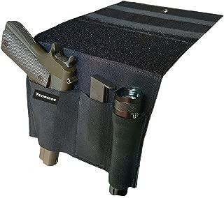 Terrernce Tactical Bed Pistol Holster, Bedside Handgun Holster, Mattress Gun Holster Universal with Flashlight Loop