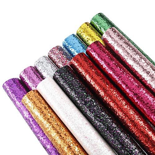 Gitua 13 colores brillantes de piel sintética de 21 x 16 cm para manualidades, decoración, manualidades, bolsos, pendientes, horquillas para el pelo