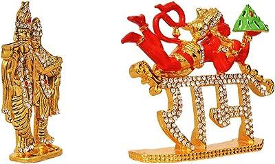 ART N HUB Combo 2 Statue God Radha Krishn & Hanuman Idol Puja Mandir Gift/Home Temple & Car Dash Board Showpiece Statue Gift Item