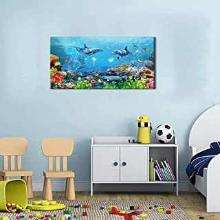 Living Room Wall Decor Sea Turble Octopus Dolphin Seahorse Marine Fish Coral Large Wall Pictures Blue Ocean Theme Canvas Art Wall