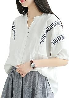 YESNO E01 Women Casual Loose Fit Embroidered Blouse Shirt Lapel Button-Down Shirt 100% Linen Raglan Sleeve