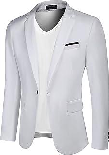 COOFANDY Men's Casual Blazer Jacket Slim Fit Sport Coats Lightweight One Button Suit Jacket White